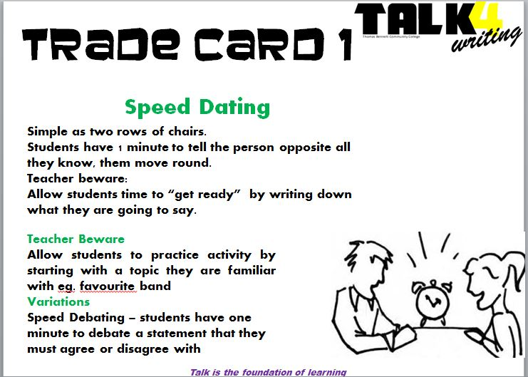 Speed dating comment cards